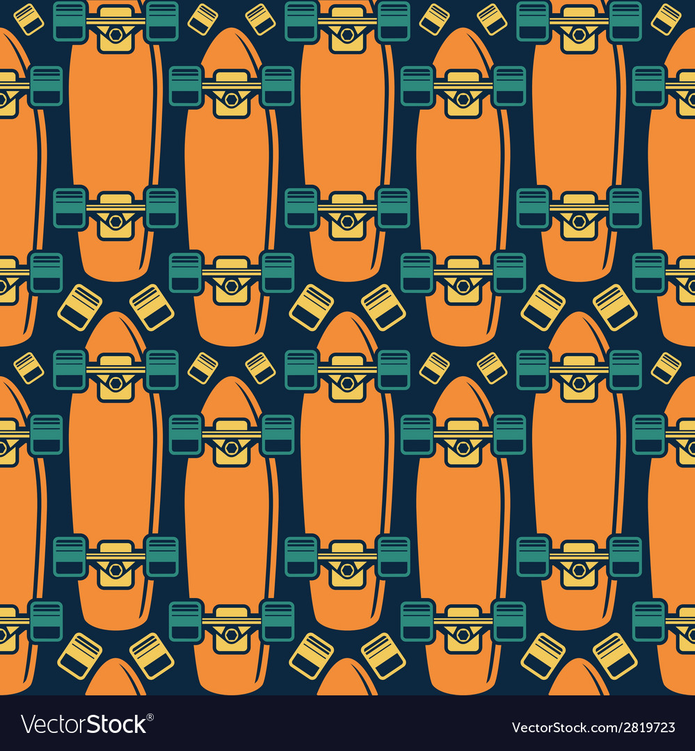 Seamless pattern with the image of longboard vector