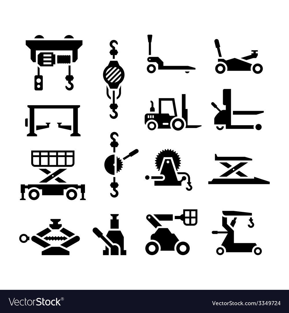 Set icons of lifting equipment vector