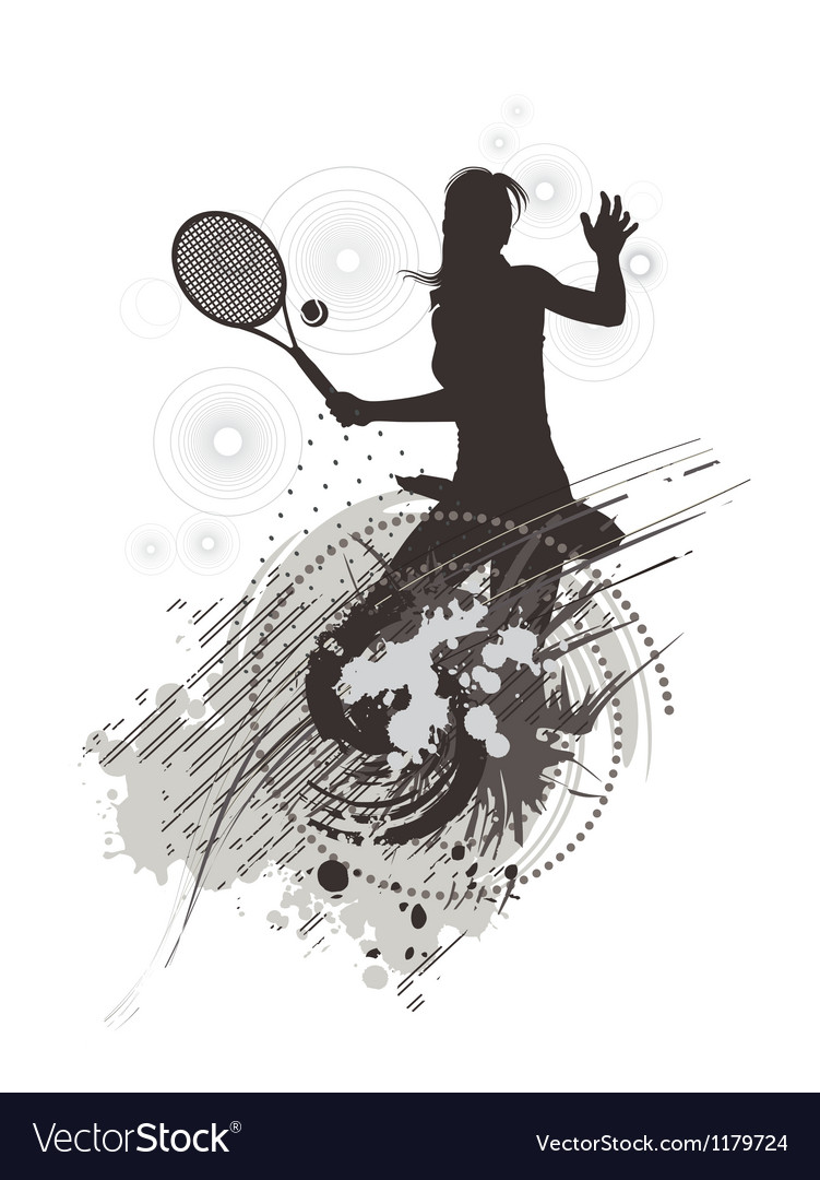 Tennis girl on stain background vector