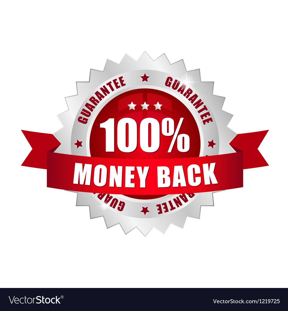 100 prozent money back button vector