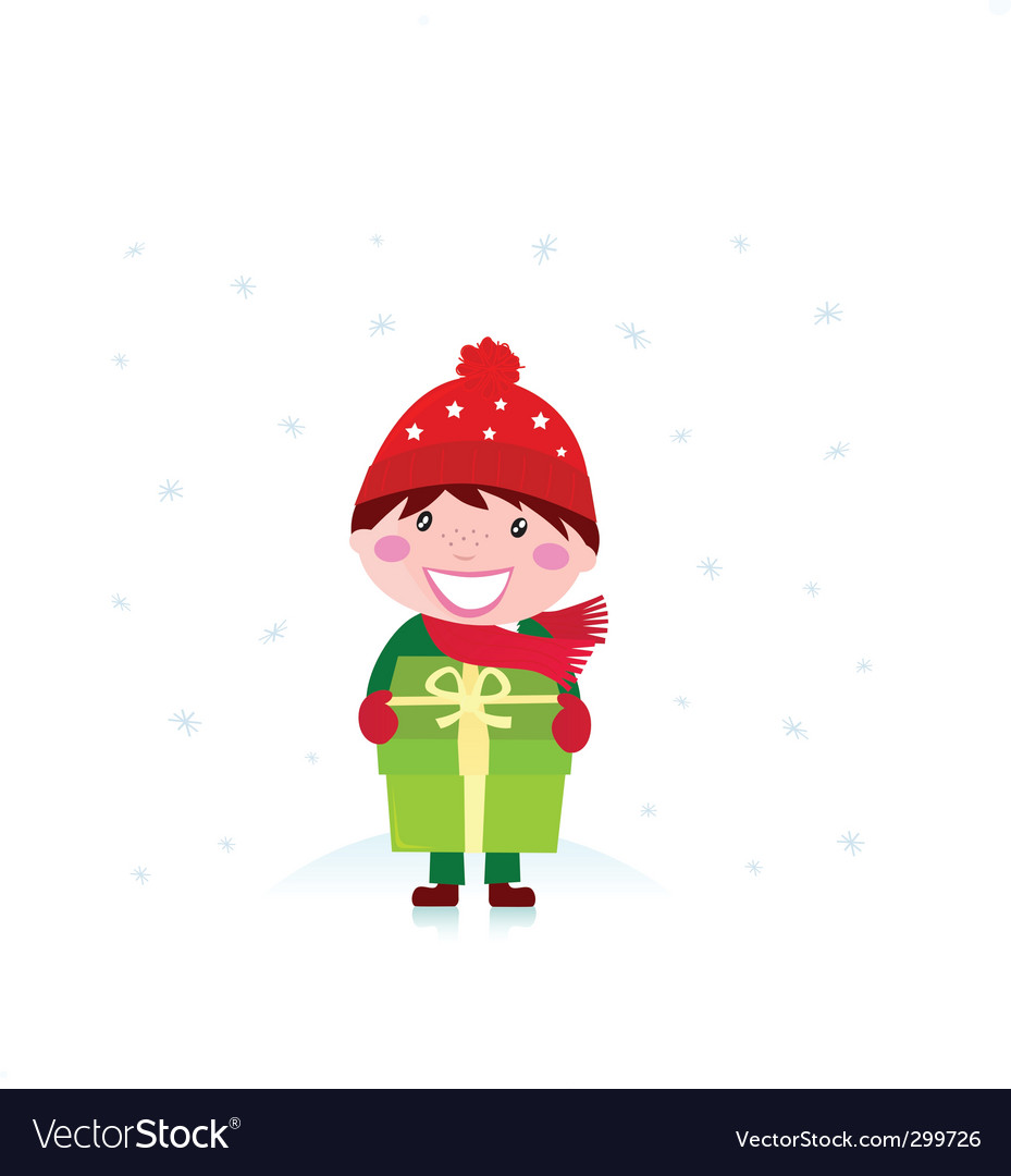 Cute christmas boy with gift vector