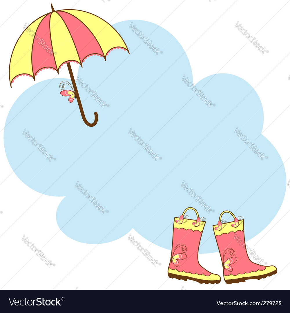 Cute rain boots umbrella vector
