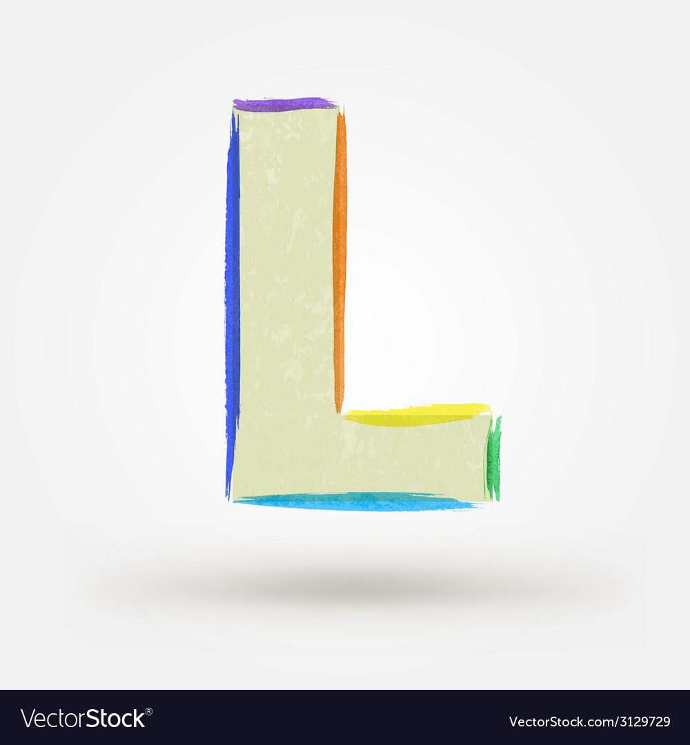 Alphabet letter l watercolor paint design element vector