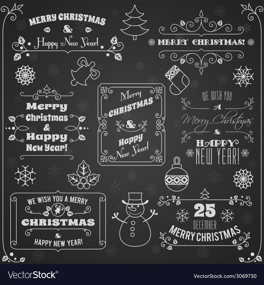 Christmas labels chalkboard set vector