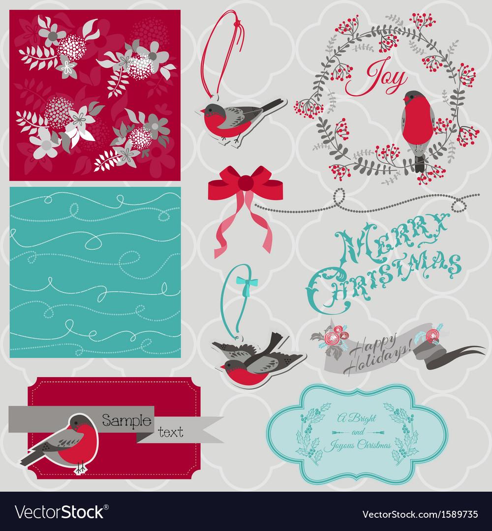 Christmas birds theme vector