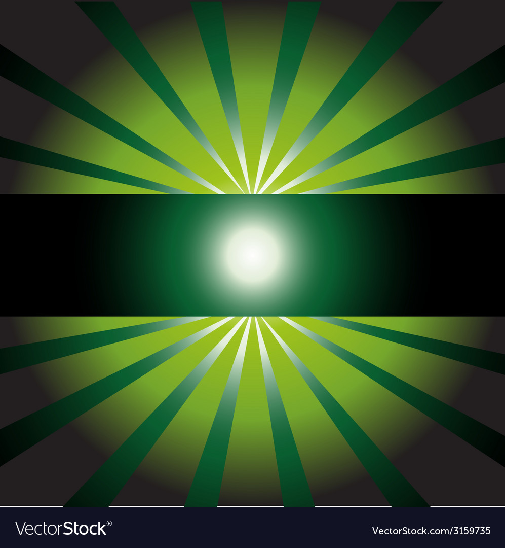 Dark green sunny ray background with place vector