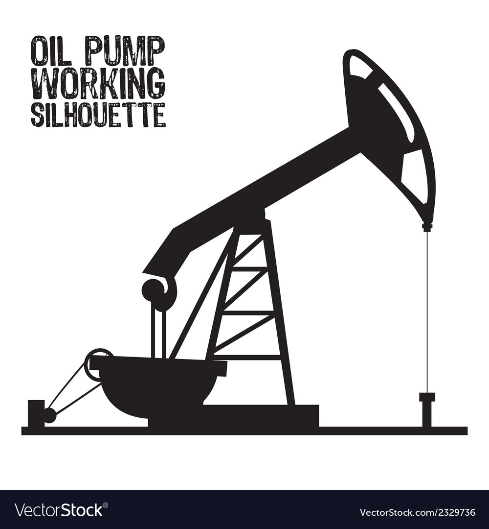 Silhouette of oil pump isolated on a white backgro vector
