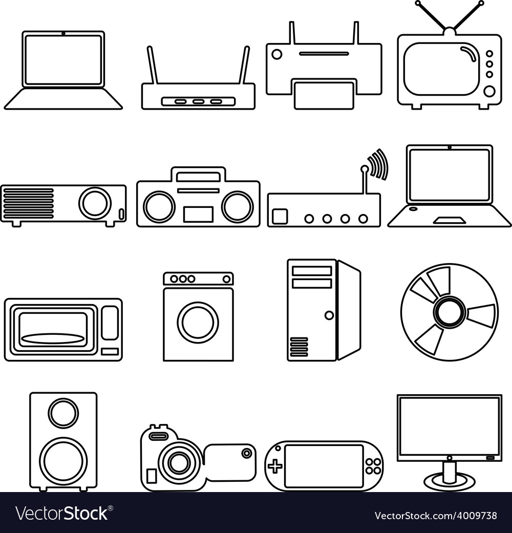 Collection flat icons with long shadow electrical vector
