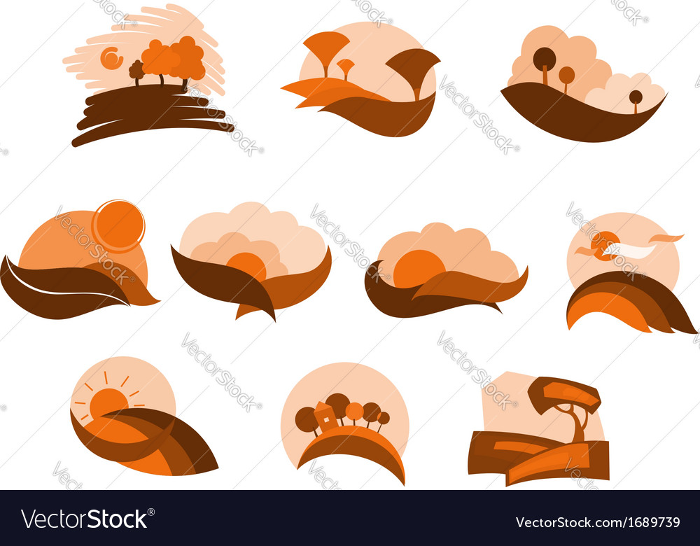Autumnal nature icons and symbols vector