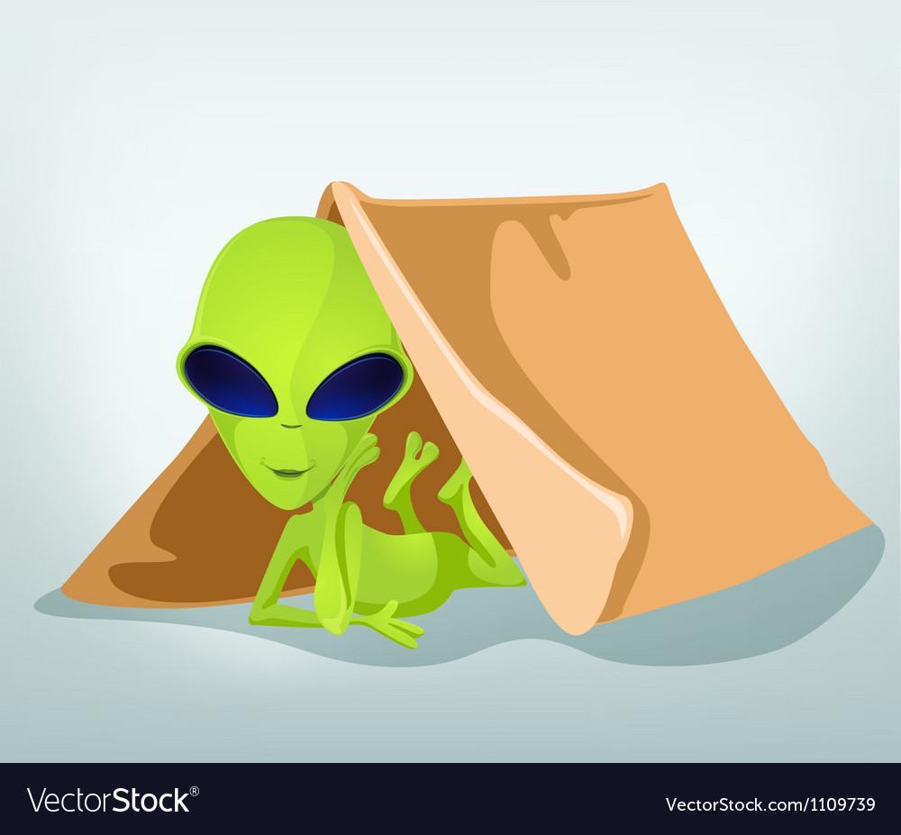 Cartoon alien camp vector