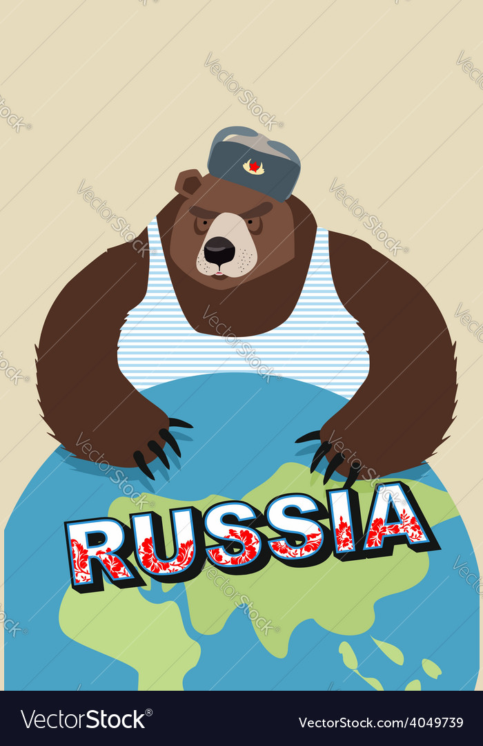 Russian bear soldier in ear flaps and a t-shirt vector