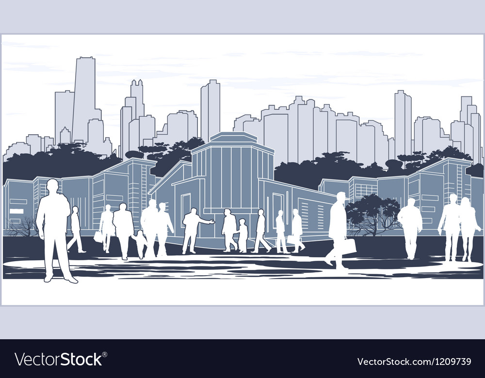 Silhouettes of people on blue town outline vector