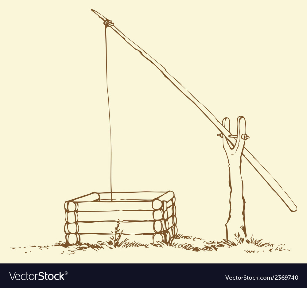 Old wooden well vector