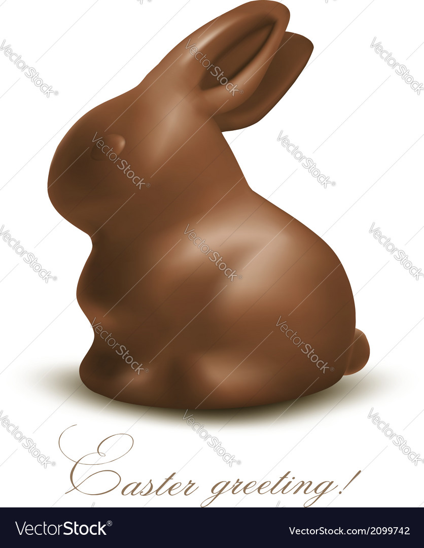 Holiday easter background with chocolate bunny vector