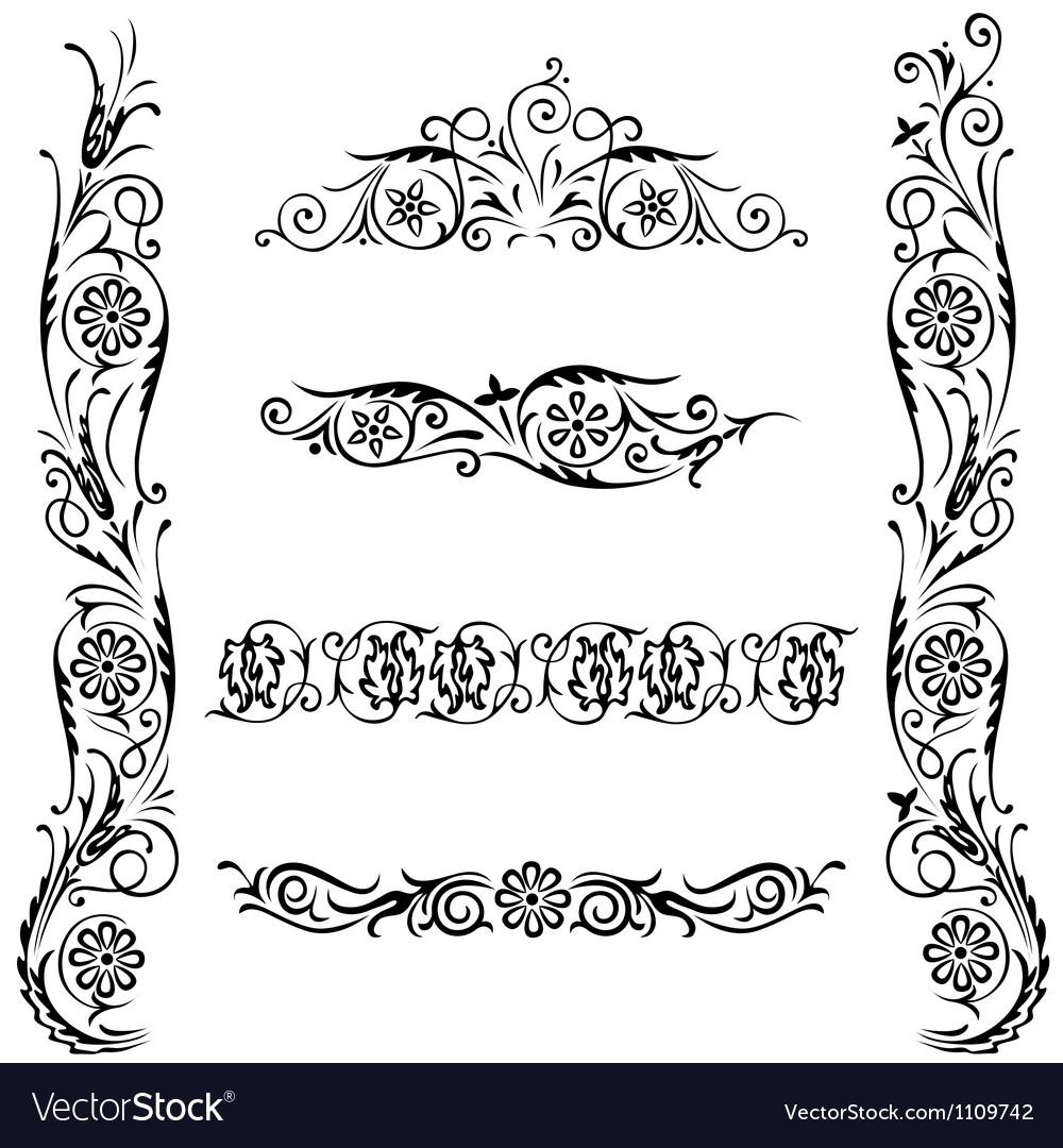 Set calligraphic design flower ornament vector
