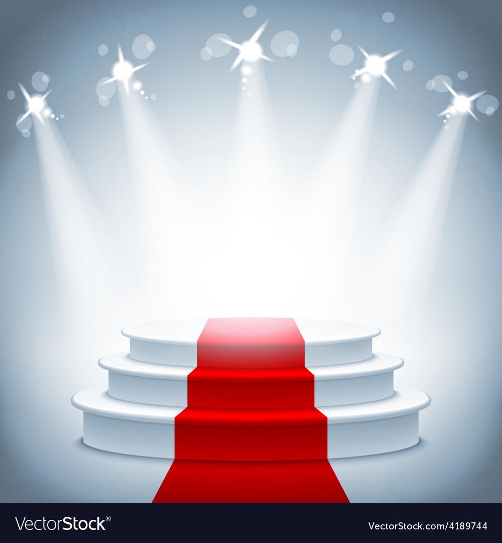 Illuminated stage podium red carpet award ceremony vector
