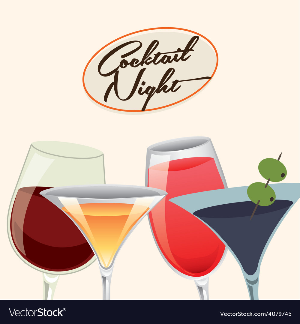 Cocktail night vector