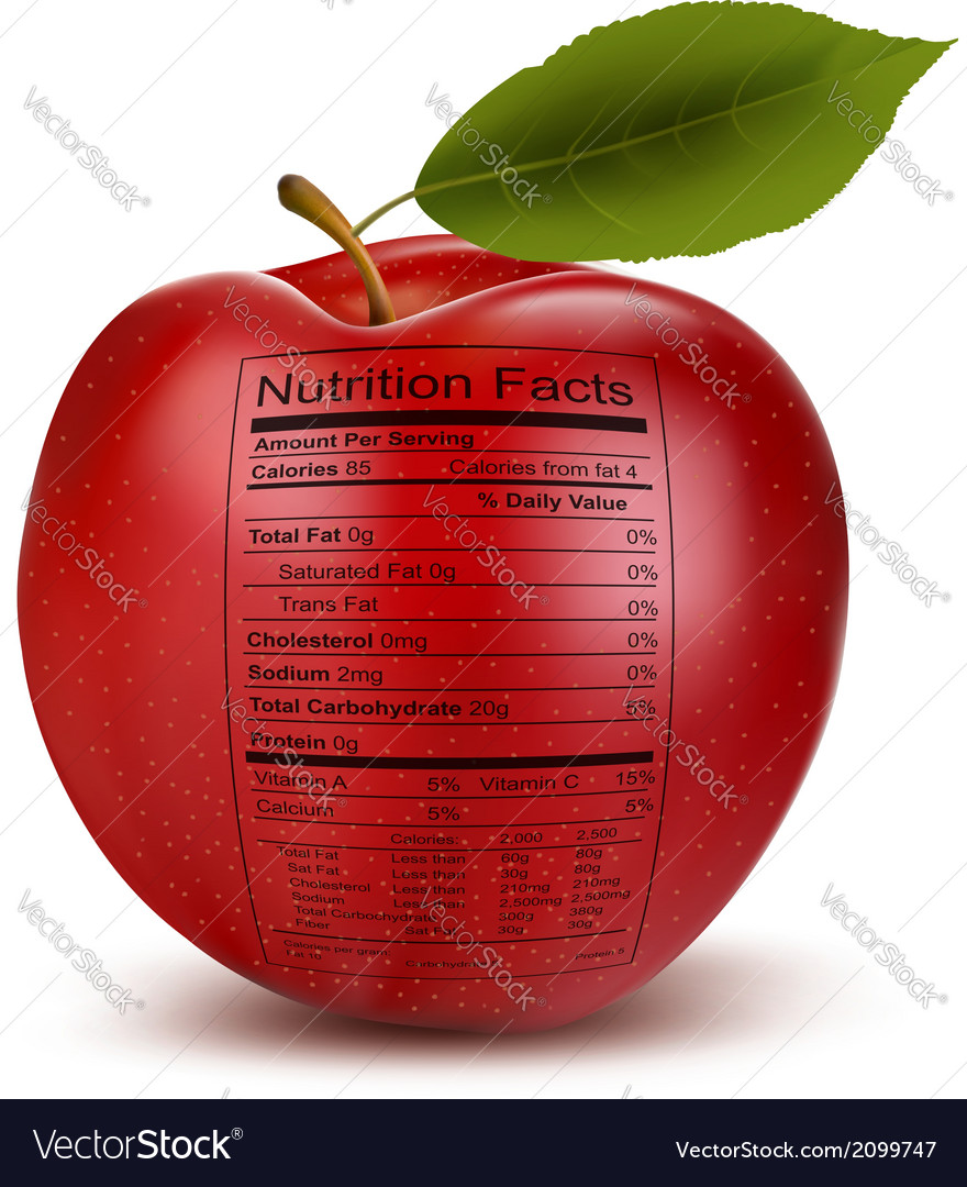 Apple with nutrition facts label concept of vector