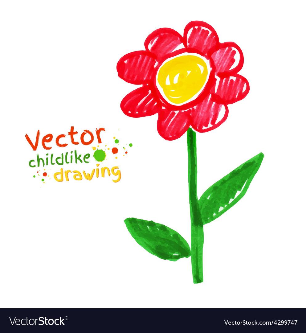 Childlike drawing of flower vector