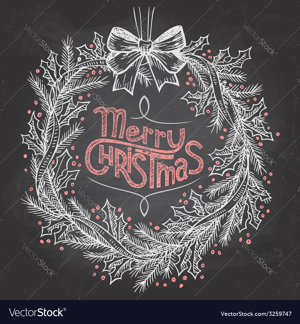 Christmas wreath with chalk vector