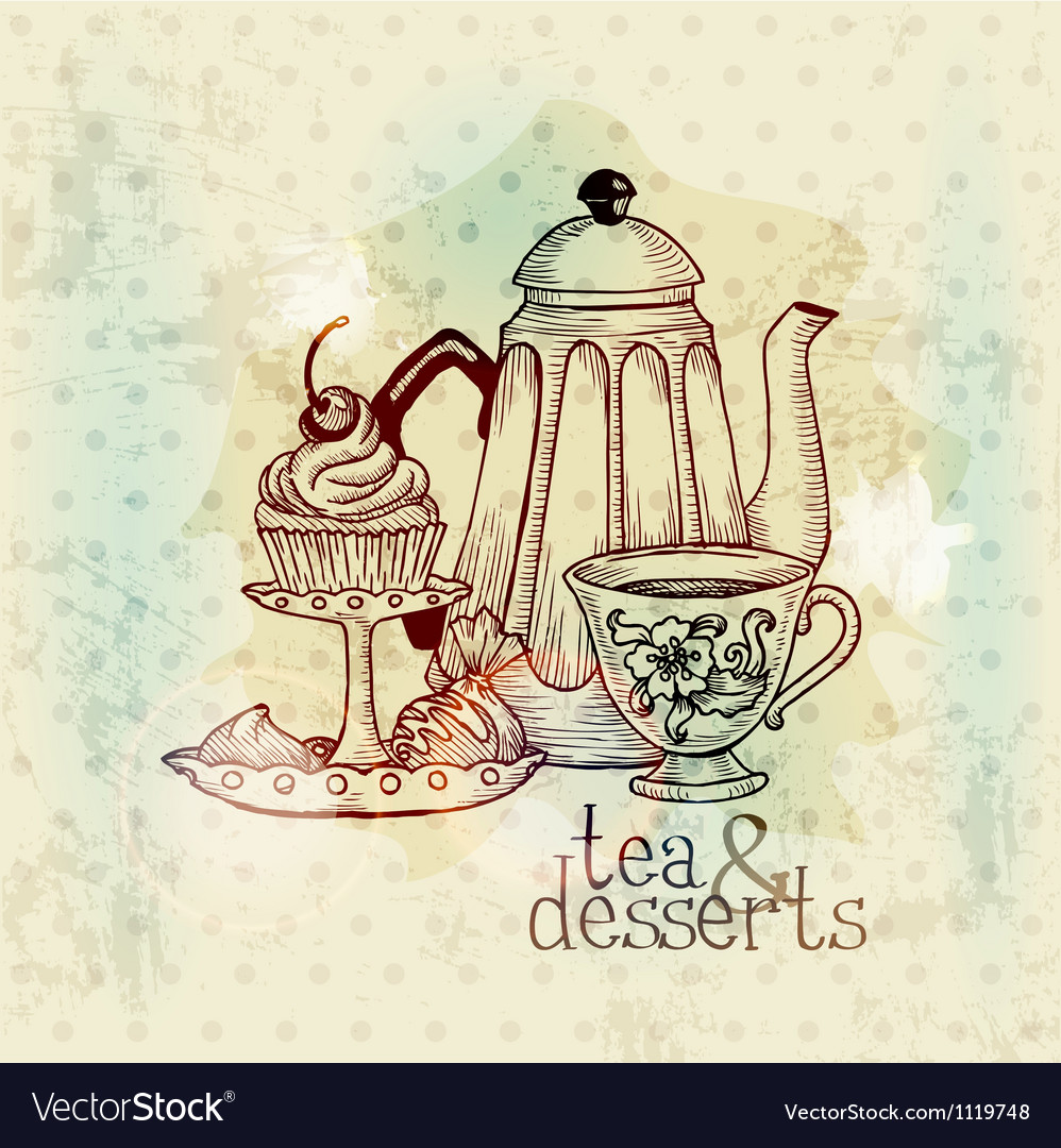 Tea and desserts - vintage menu card vector