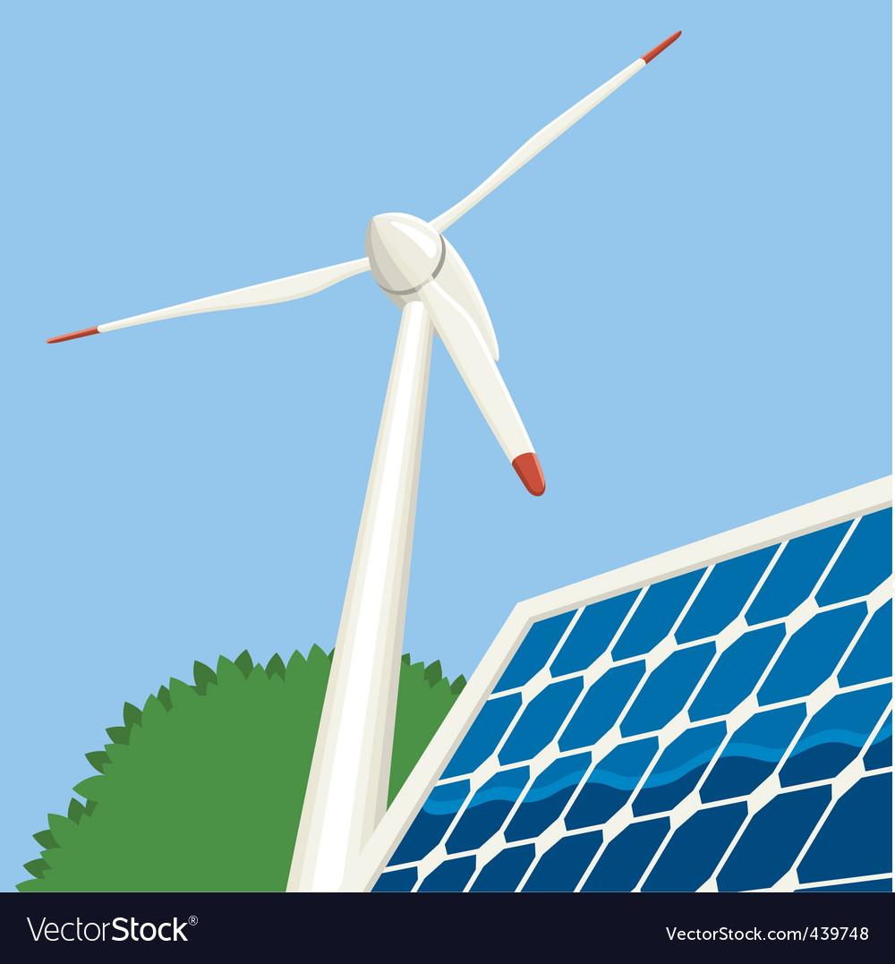 Wind turbine and solar panel vector