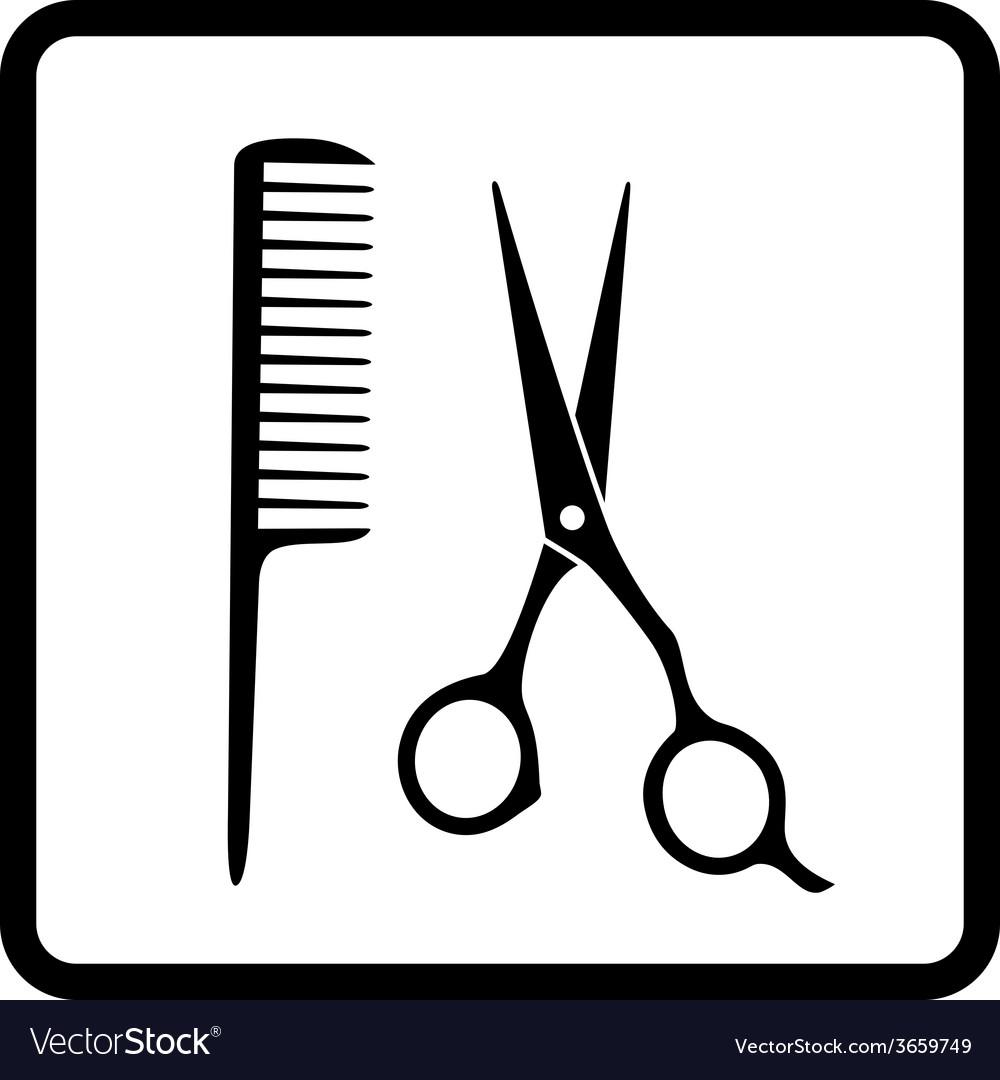 Black hair salon sign vector