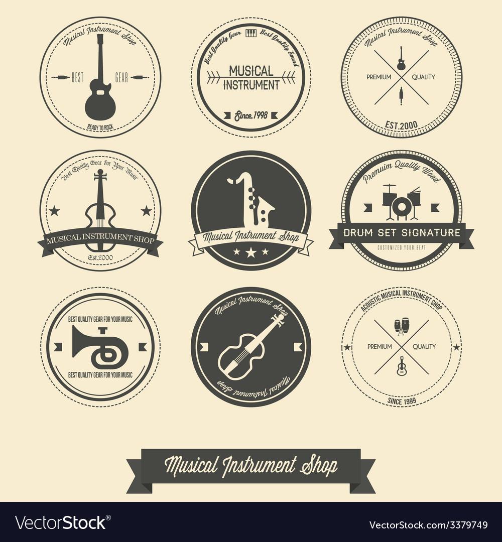 Musical instrument shop vintage label vector