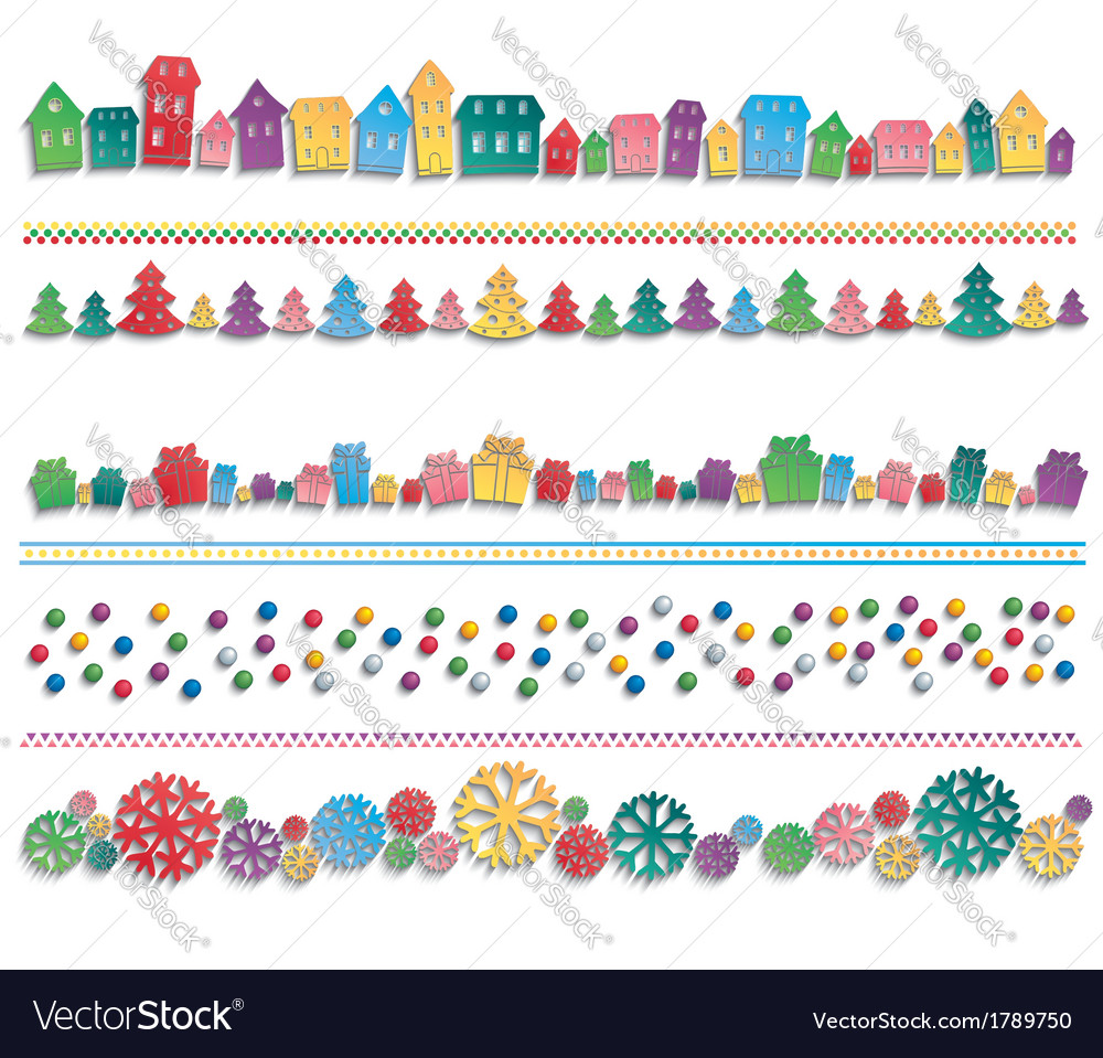Set of festive colorful elements drawn in a row vector