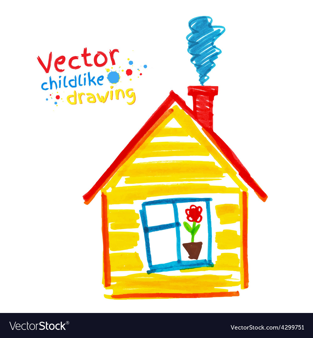 Childlike drawing of house vector