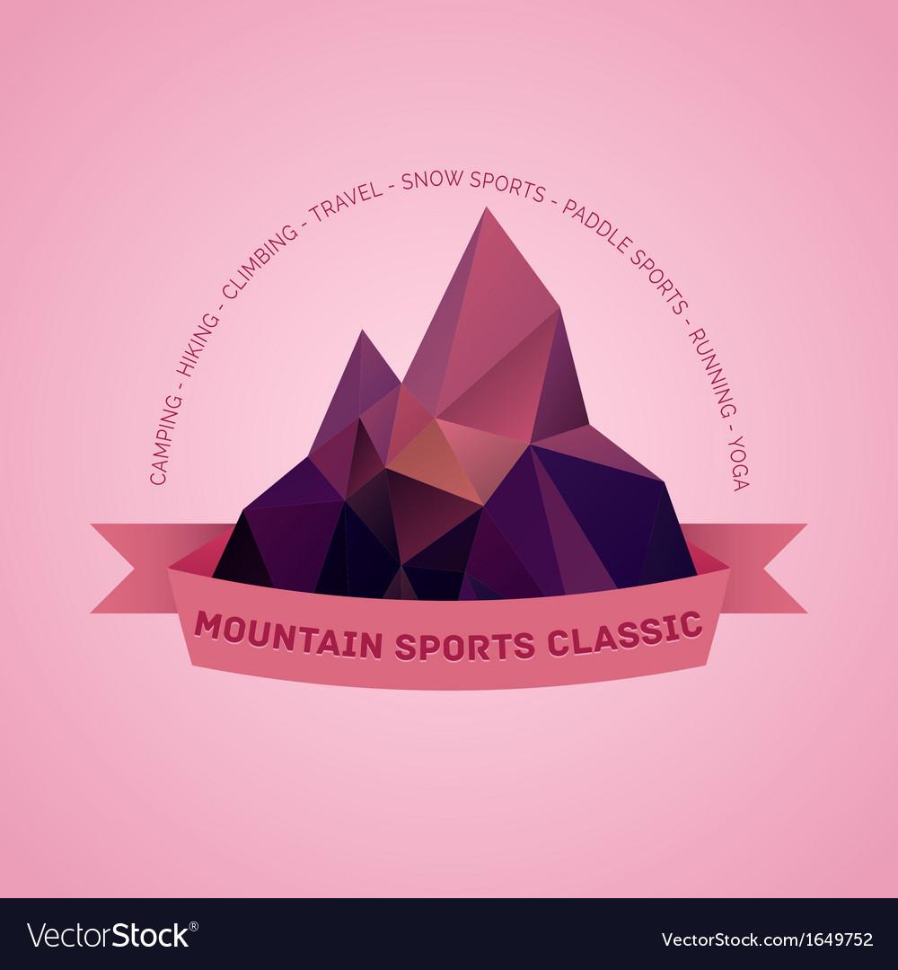 Mountain themed outdoors emblem logo vector