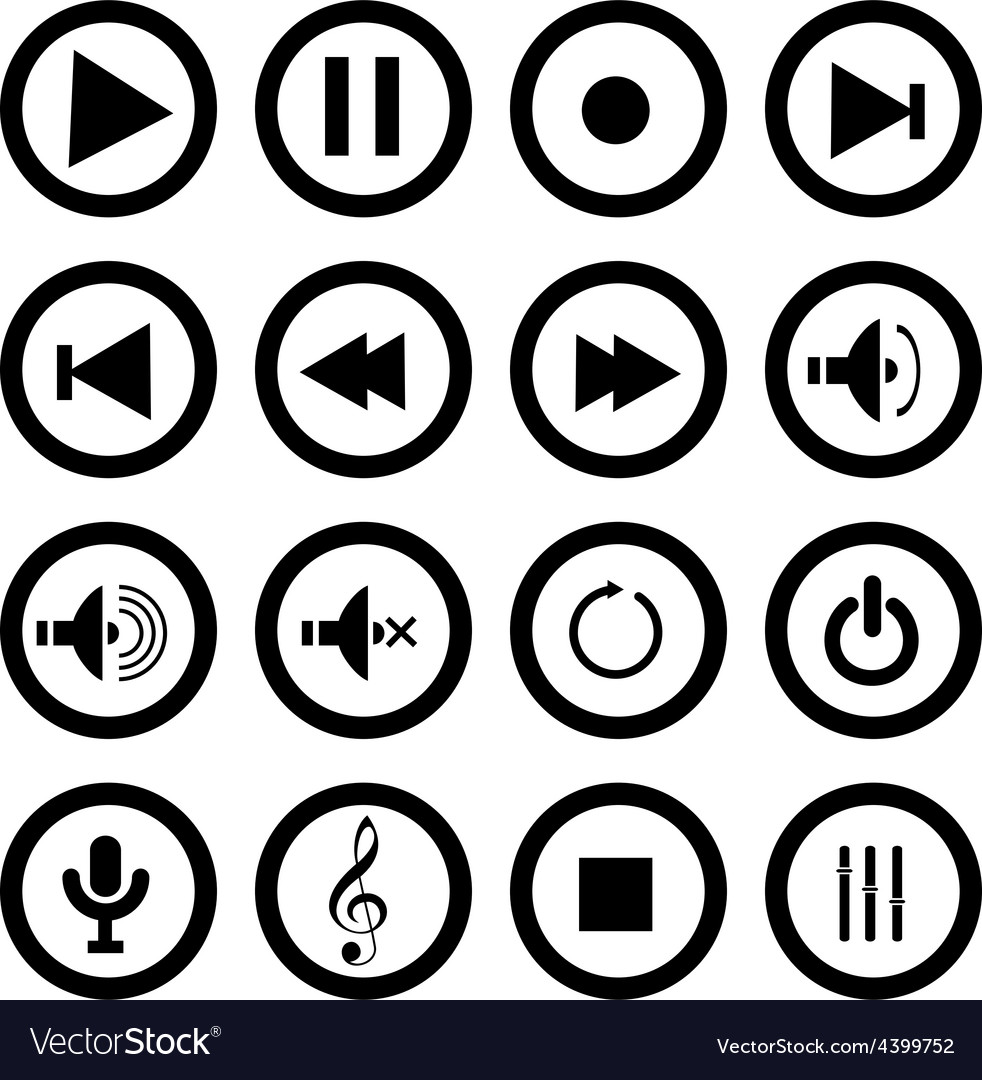 Multimedia play icons set vector