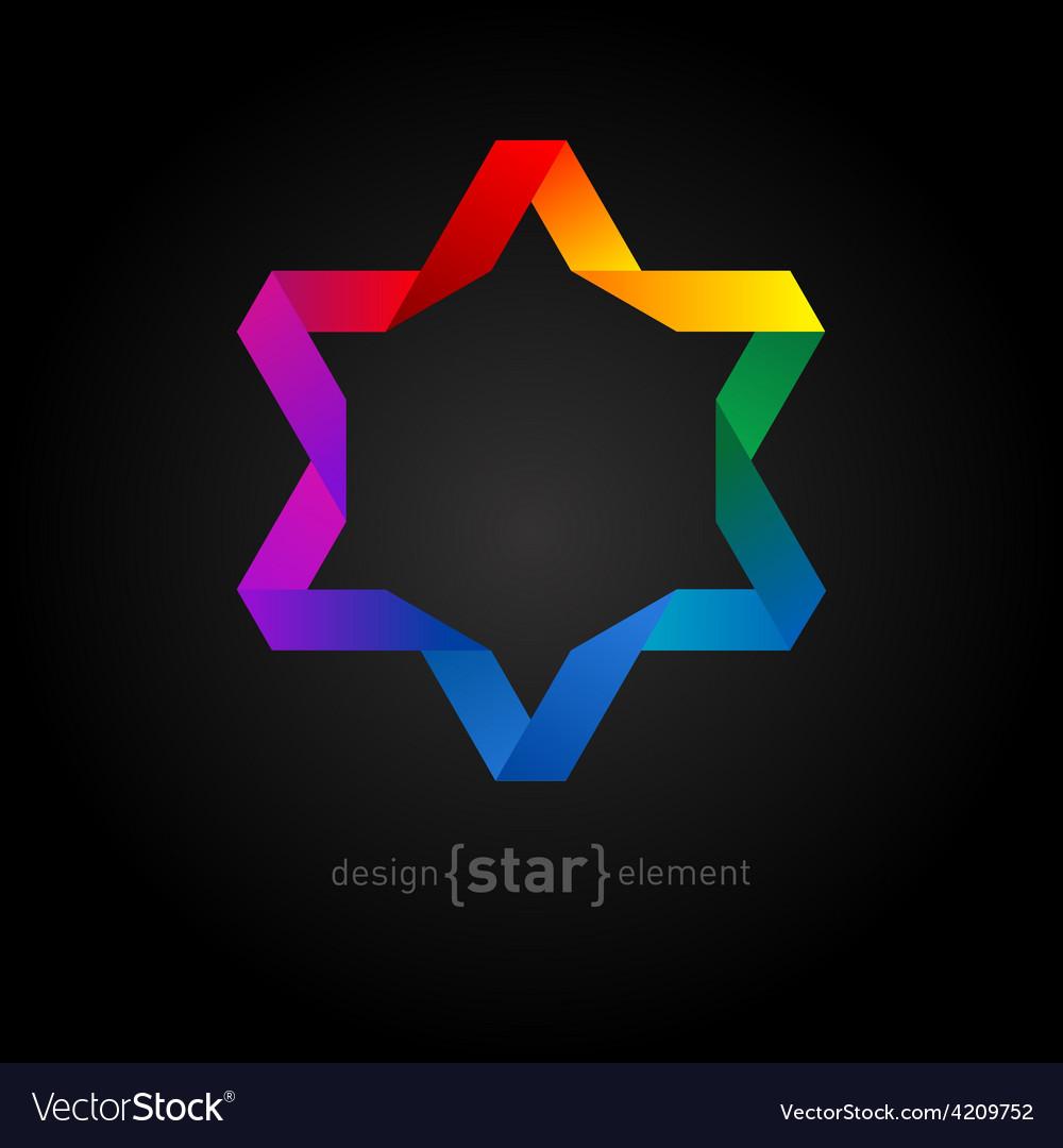 Rainbow origami david star on black background vector