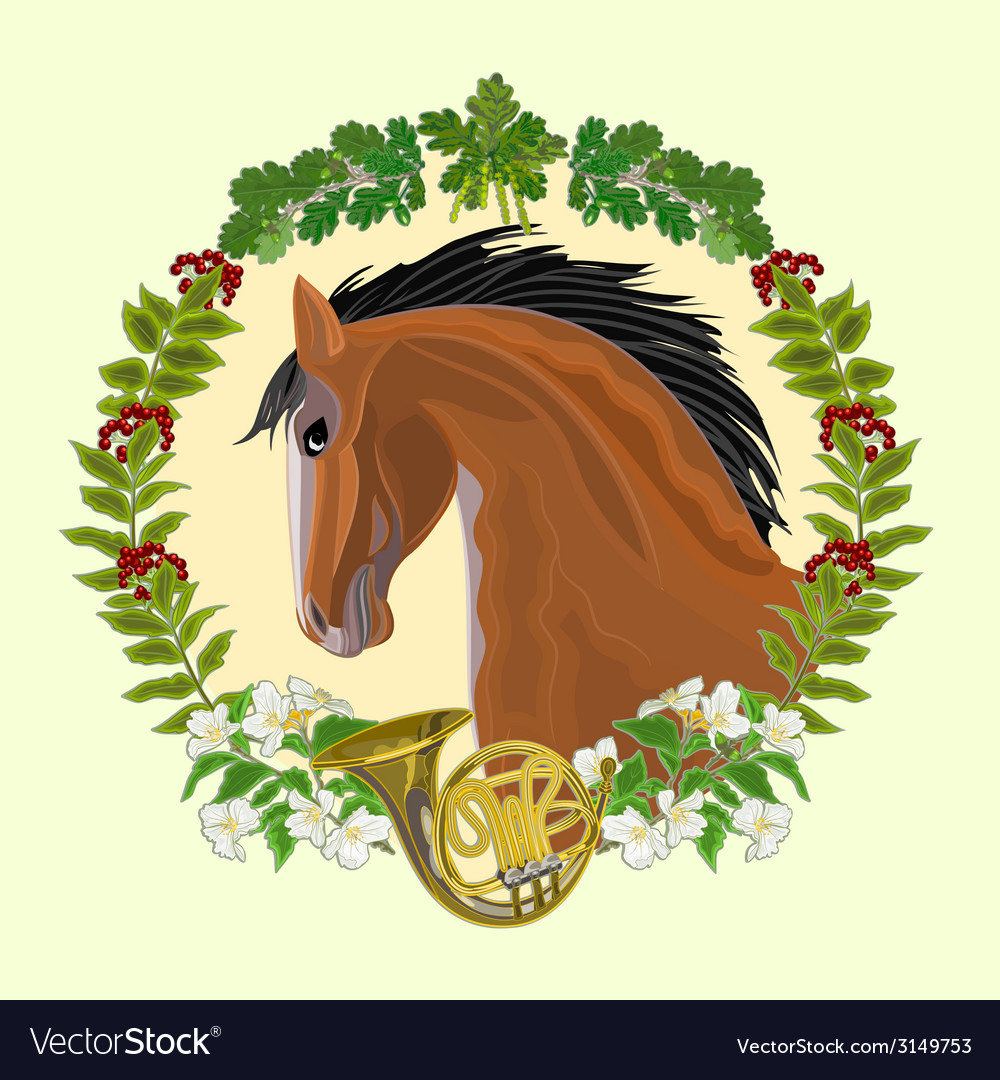 Dark horse head of stallion leaves and french horn vector