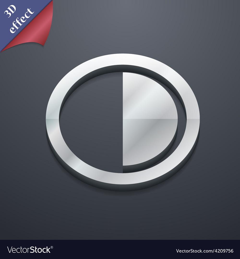 Contrast icon symbol 3d style trendy modern design vector
