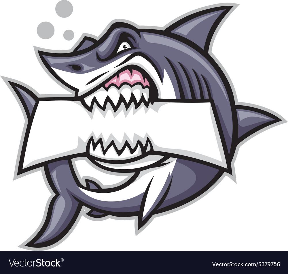 Shark bite a blank sign vector
