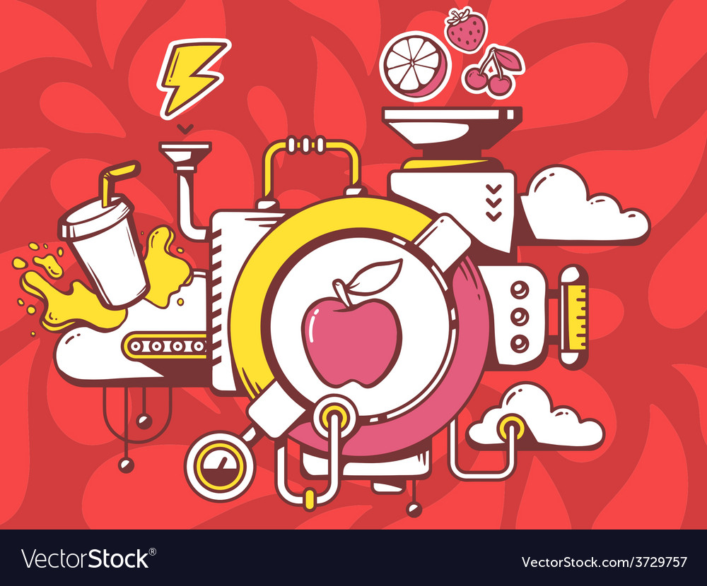 Mechanism with apple and relevant icons o vector