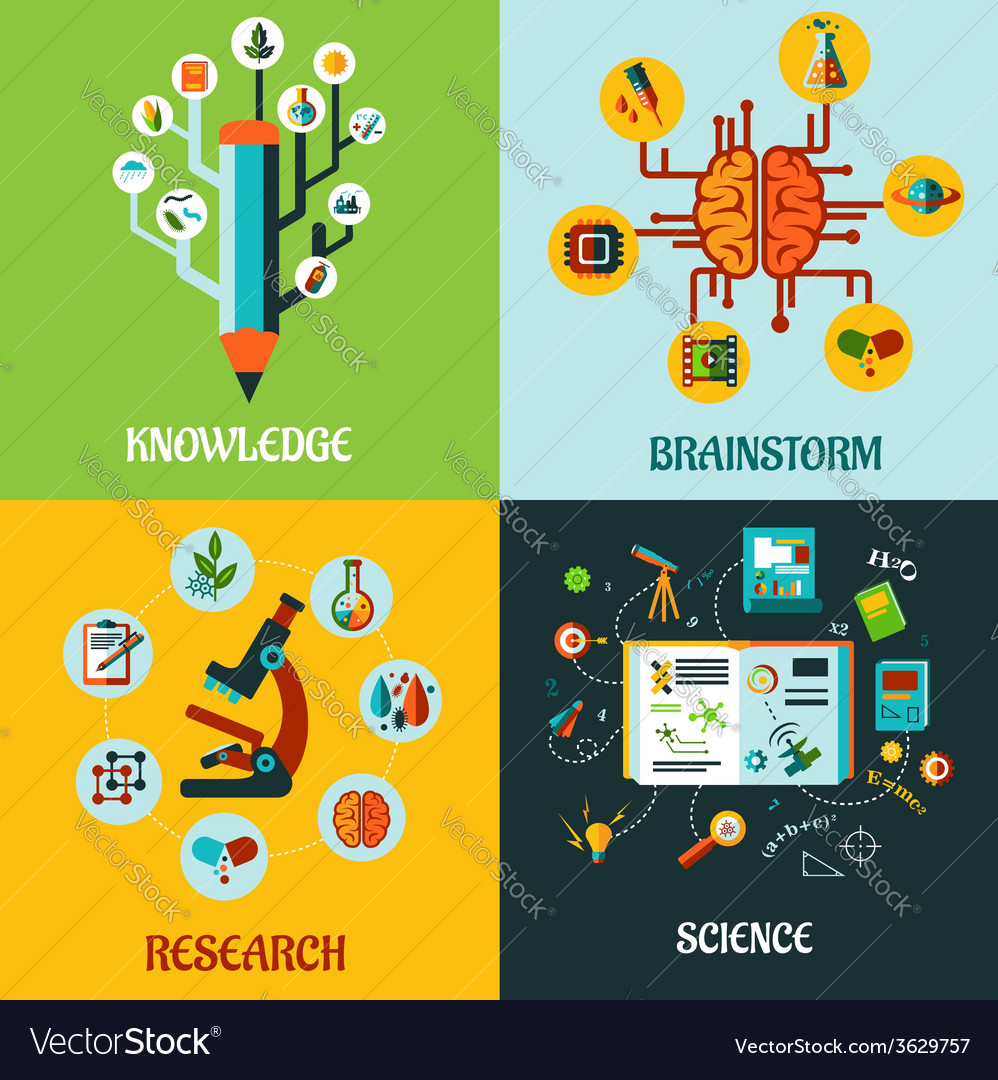 Research science and brainstorm flat concepts vector