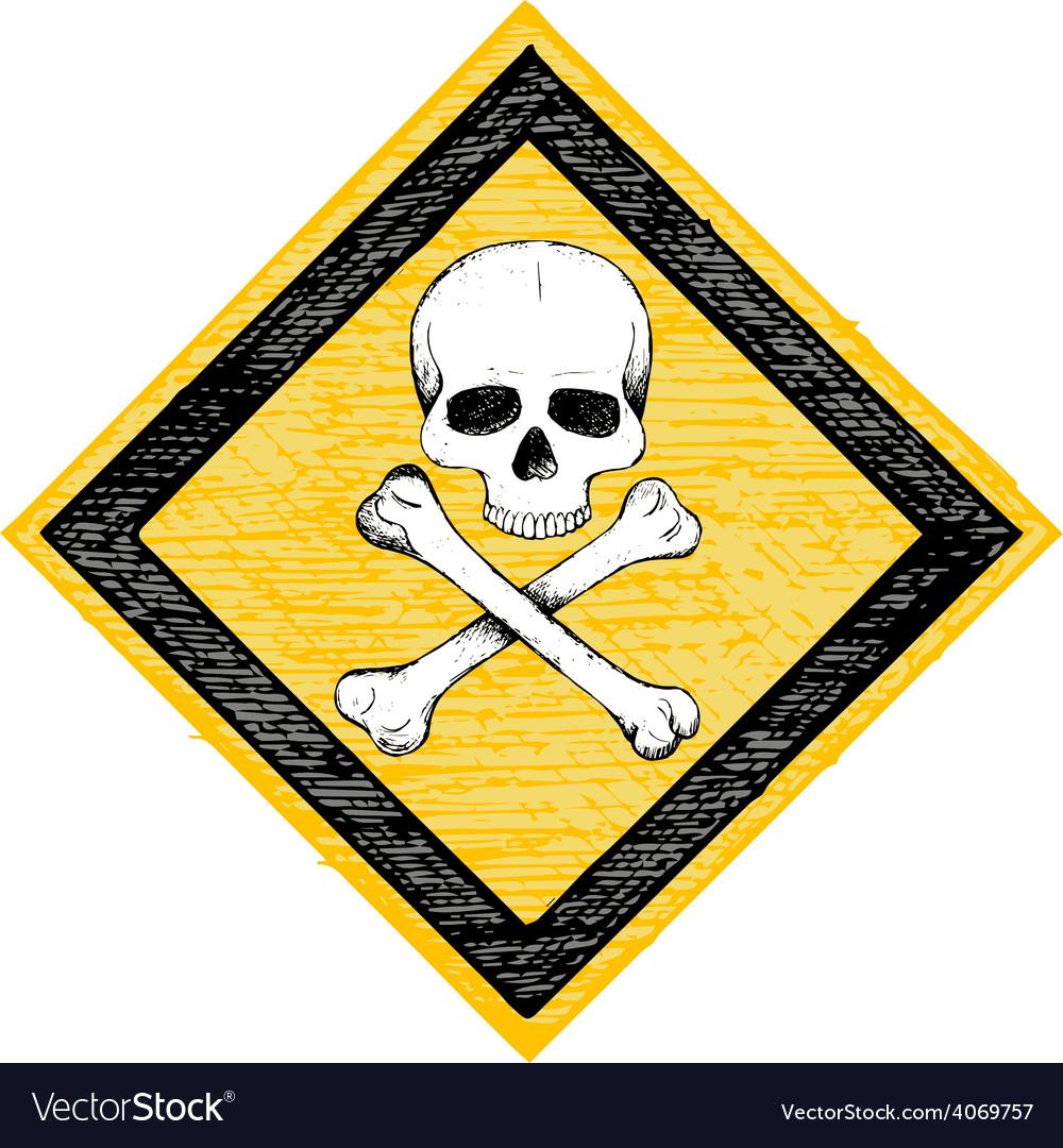Skull danger sign vector