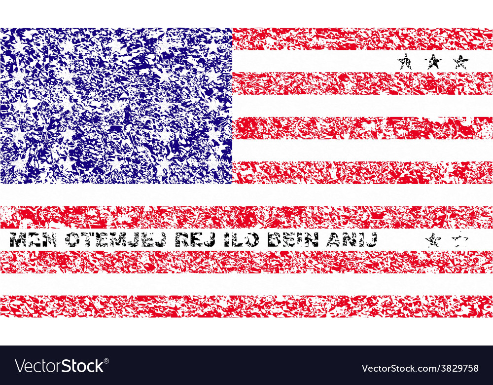 Flag of bikini atoll with old texture vector