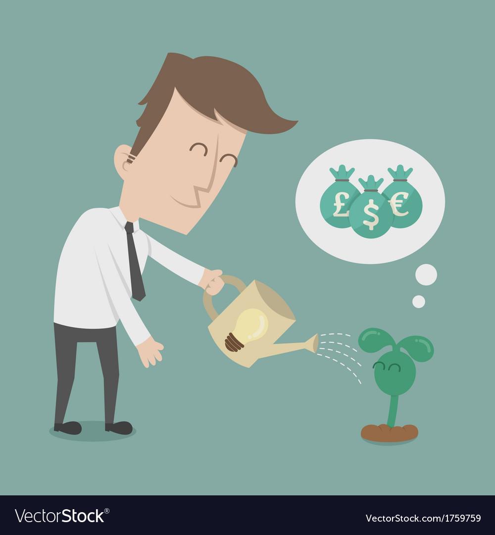 Business man watering money tree vector