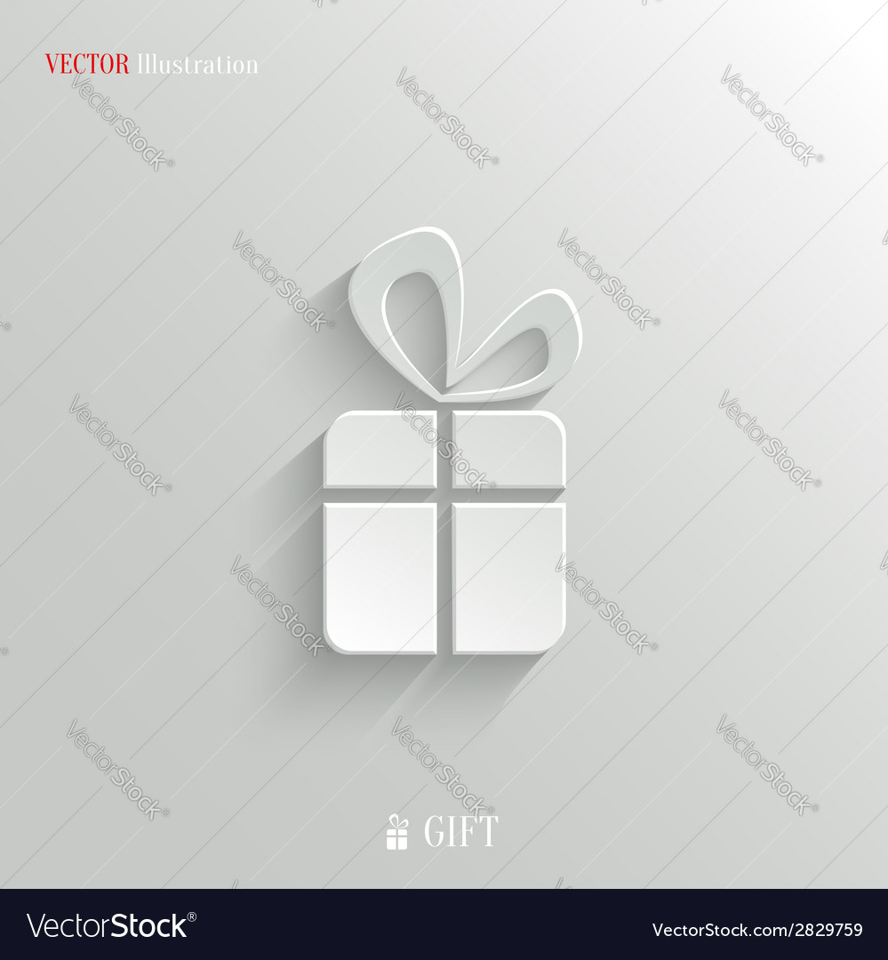 Gift icon - white app button vector