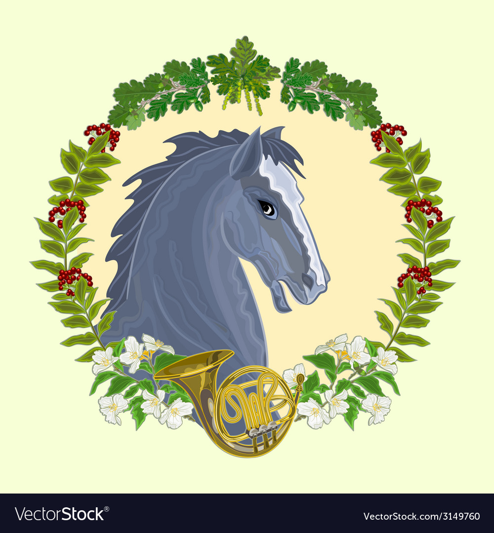 Black horse head of stallion vector