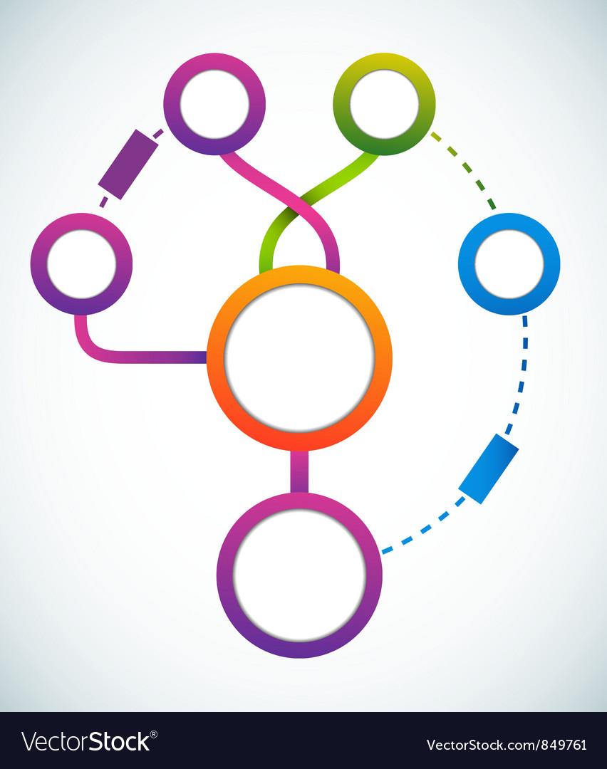 Empty color circle marketing flowchart vector