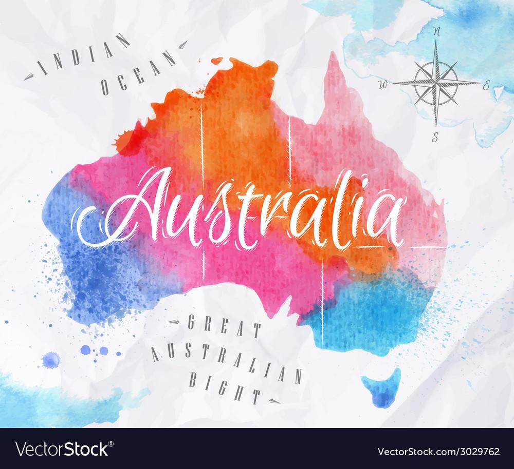 Watercolor map australia pink blue vector