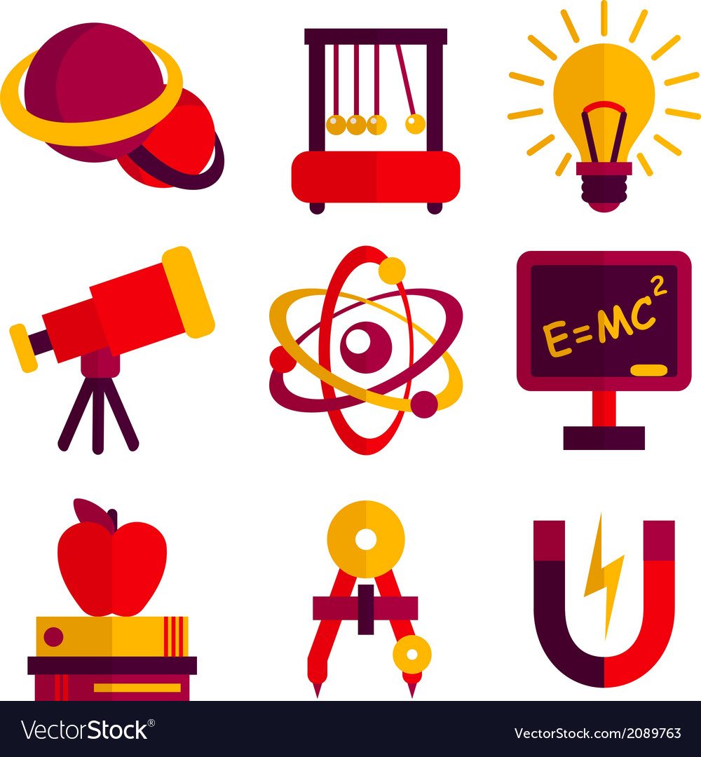 Physics and astronomy icons set vector