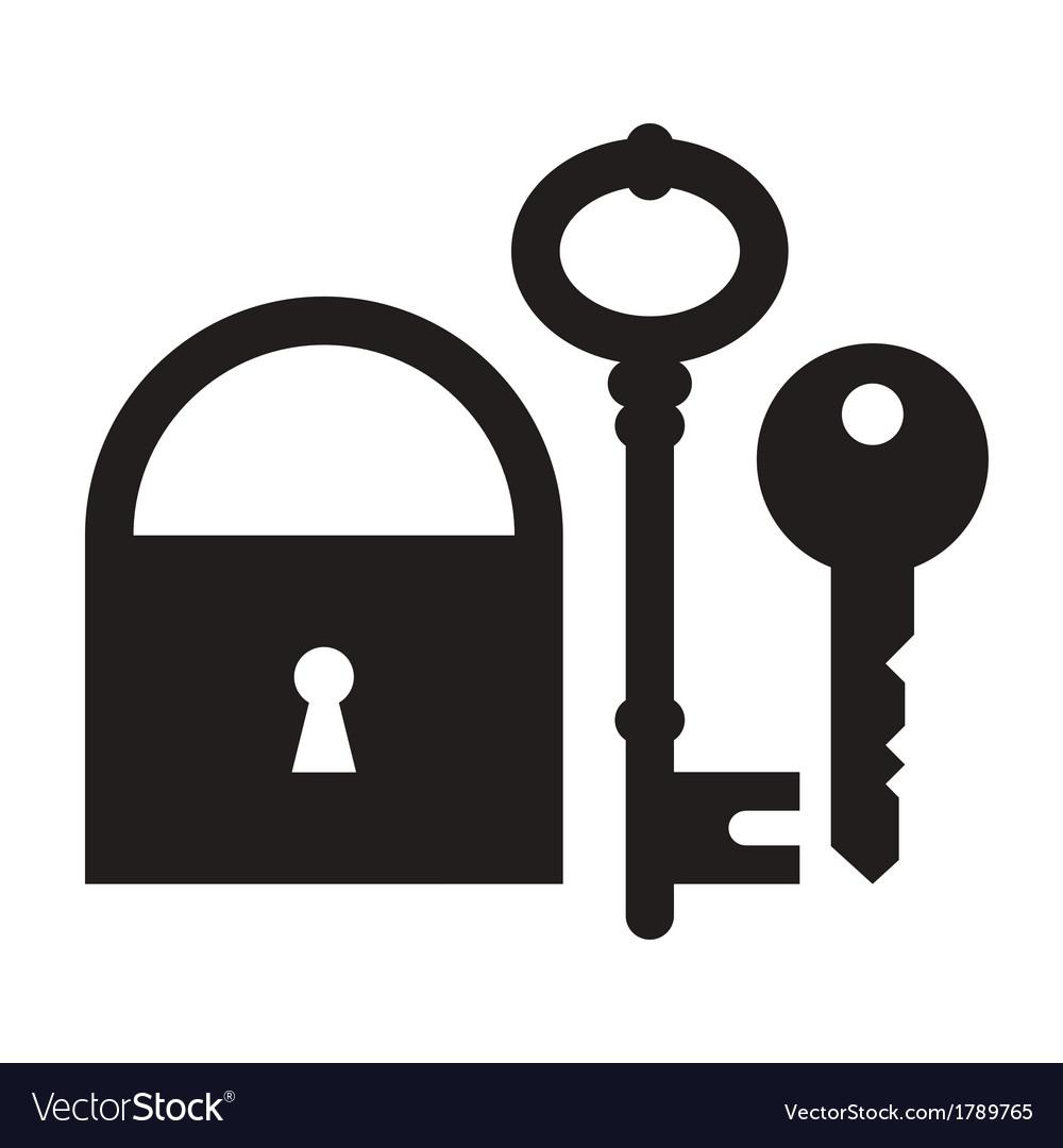 Padlock and keys vector