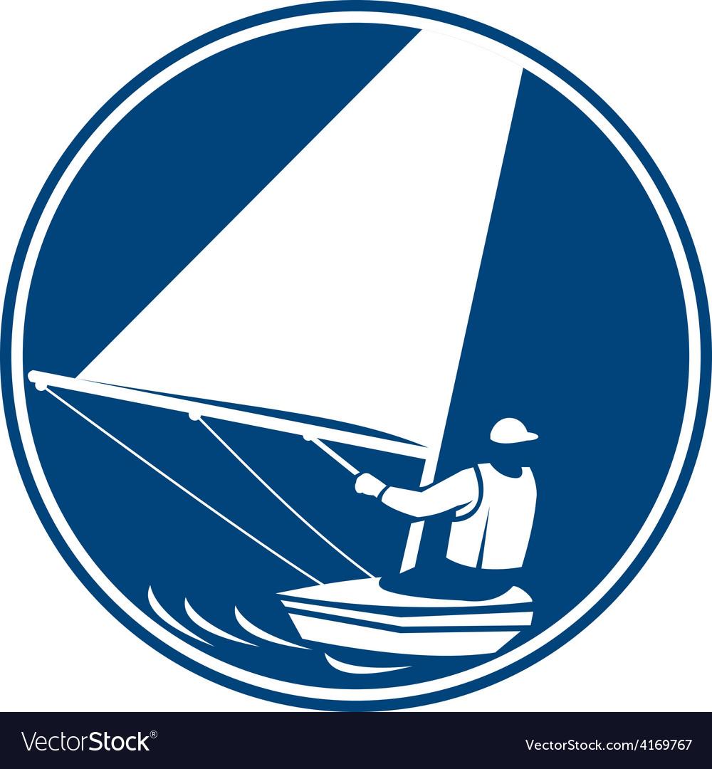 Sailing yachting circle icon vector