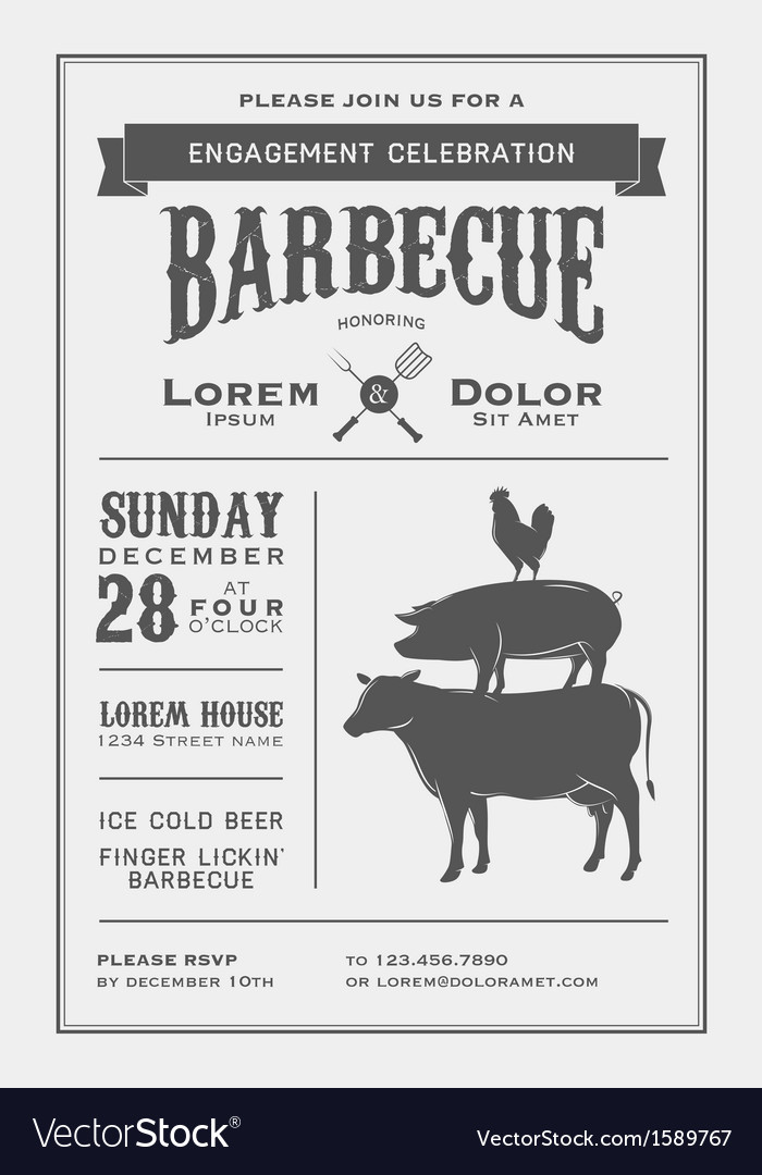 Vintage barbecue invitation card vector