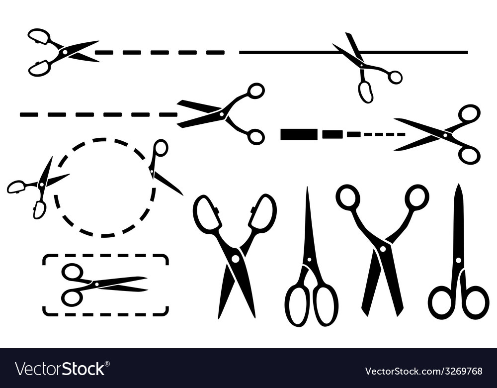 Scissors set with dotted line isolated vector